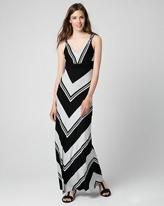 Stripe Jersey V-Neck Maxi Dress - Mitered stripes lend a chic, graphic look to our stunning maxi dress finished with bead-adorned straps.
