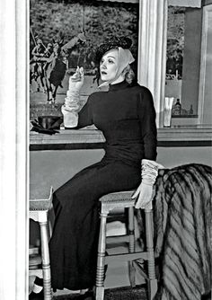 Marlene Dietrich in the Polo Lounge at The Beverly Hills Hotel, #LA. She famously broke the 'no slacks' rule.