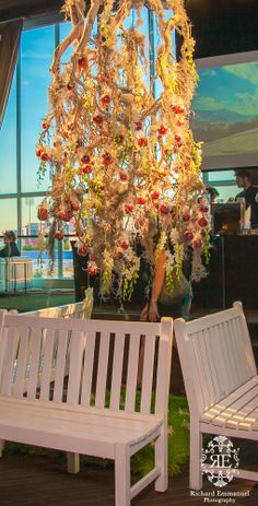 Upside down candy apple tree. Great party idea.  Photo courtesy of Richard Emmanuel Photography.
