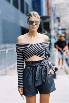Pants: ribbon short pant striped shirt blue cold shoulder mirrored sunglasses urban streetstyle