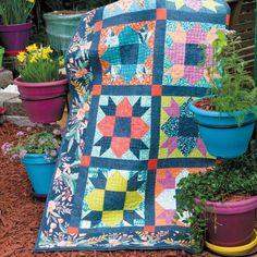 Twilight Garden: Fat Quarter Lap Quilt Pattern Designed And on Home Inteior Ideas 4184 Lap Quilt Patterns, Lap Quilts, Quilt Blocks, Machine Quilting, Mccall's Quilting, Fat Quarter Quilt, Colorful Quilts, Quilt Sizes, Quilting Projects