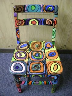 ART-ticulate Teaching: Chairs of Famous Masterpieces- Sixth through Eighth Grade - ART-ticulate Teaching: Chairs of Famous Masterpieces- Sixth through Eighth Grade ART-ticulate Teaching: Chairs of Famous Masterpieces- Sixth through Eighth Grade Art Furniture, Funky Furniture, Repurposed Furniture, Furniture Makeover, Decoupage Furniture, Furniture Design, Plywood Furniture, Hand Painted Chairs, Whimsical Painted Furniture