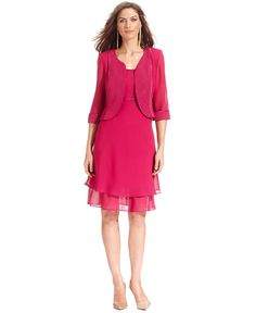 Le Bos Dress and Jacket, Sleeveless Glitter Empire-Waist - Mother of the Bride Dresses - Women - Macy's