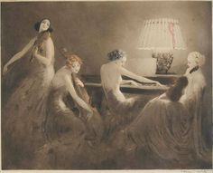 Melody Hour by Louis Icart. I like this etching and I looked at some of his other work online, enjoyed a lot of it.