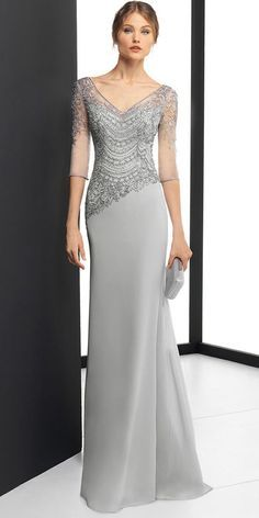 DressilyMe Bridal Dresses Online,Wedding Dresses Ball Gown, delicate chiffon v neck neckline 3 4 length sleeves sheath column evening dress with beaded embroidery Mother Of Groom Dresses, Mothers Dresses, Gowns For Mother Of The Bride, Long Mothers Dress, Bridesmaid Dresses, Prom Dresses, Formal Dresses, Wedding Dresses, Gown Wedding