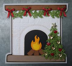 bydonna: Brick embossing folder used to make a fireplace and the MS Branch punch for the Christmas tree.  Cute Christmas card.