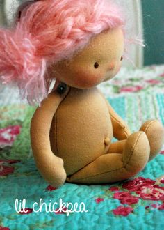 """Fleur 10"""" lil chickpea Waldorf inspired doll"""