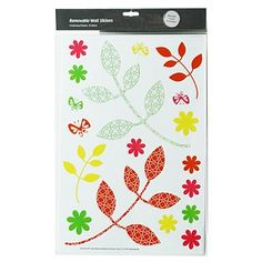 Wall Art & Printed Canvas - Briscoes - UR1 Retro Flowers Removable Wall Sticker 3 Sheet