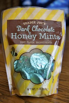 Trader Joe's Dark Chocolate Honey Mints--SO GOOD and only three ingredients: only three ingredients-honey, chocolate liquor, and peppermint oil. Paleo-approved, vegan-approved...and relatively cheap.
