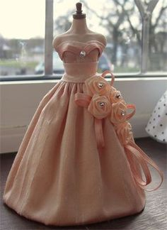 Peach dupion silk and satin rose cluster 1/12th scale gown.