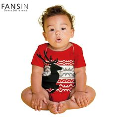 FANSIN Brand Christmas Newborn Elk Baby Bodysuits Boy Clothes Jumpsuit Girl Costume Infant Red Short Sleeve Bodysuit Outfits #ChristmasOutfit