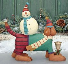 Snowman on Cat Figurine – Christmas Folk Art & Holiday Collectibles – Williraye Studio $18.00