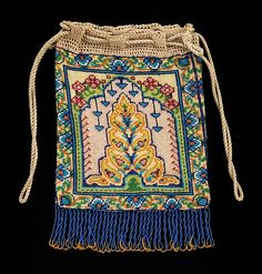 Pouch  Date:1830–60 Culture:French Medium:glass, silk, linen Accession Number:2009.300.1997