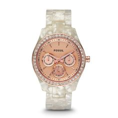 Stella Multifunction Resin Watch - Pearlized White with Rose ES2887 | FOSSIL®