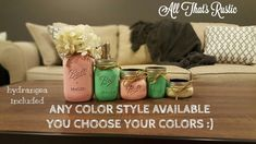 This listing is for a beautiful and useful 5 Piece Mason Jar Bathroom Set! This is perfect for any rustic or shabby chic decor:). This also makes the perfect set for a housewarming gift. Available in a variety of colors! Purchase INCLUDES hydrangea color of choice:):) These sets make