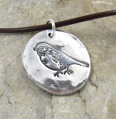 Silver Bird Necklace Hand Stamped Eco Friendly PMC Jewelry Woodland Finch Rustic Artisan PMC Pendant For Her Cute Jewelry, Jewelry Box, Jewelry Accessories, Jewelry Necklaces, Jewelery, Jewelry Making, Metal Clay Jewelry, Precious Metal Clay, Bird Necklace