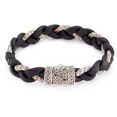 John Hardy Silver braided leather and chain bracelet ($795) ❤ liked on Polyvore featuring men's fashion, men's jewelry, men's bracelets, black, mens cord bracelets, mens woven bracelets, john hardy mens bracelets, mens leather braided bracelets and mens silver bracelets