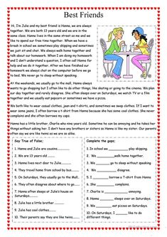 Best Friends worksheet - Free ESL printable worksheets made by teachers You are in the right place about Reading Comprehension intermediate Here we offer you the most beautiful pictures about the Read English Worksheets For Kids, English Lessons For Kids, Learn English Words, Worksheets For Grade 3, English Activities, Vocabulary Activities, French Lessons, Spanish Lessons, Preschool Worksheets