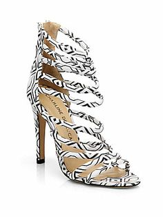 Charline De Luca Galatea Graphic-Print Leather Sandals
