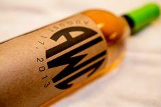 monogrammed kraft wine label