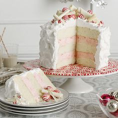 White Christmas Desserts - Peppermint layer cake