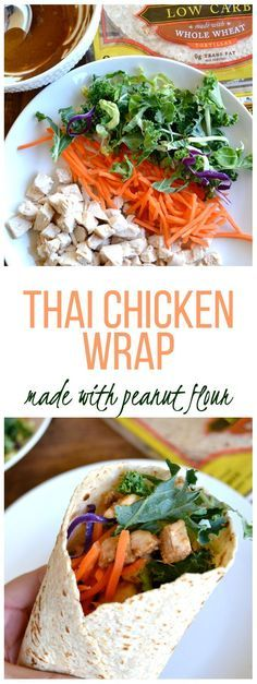 Thai Chicken Wrap - made with peanut flour and soy sauce!