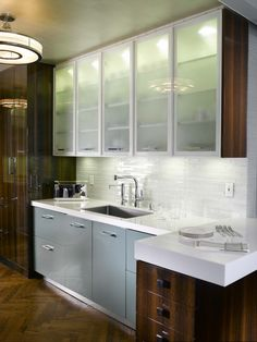 Furniture & Appliances, Mesmerizing Retro Steel Kitchen Cabinets With Stainless Steel Sink On White Countertop And White Glass Tile Backsplash Us Frozen Glass Wall Cabinet Door Design Ideas: Cool Retro Steel Kitchen Cabinets Design To Brings Vintage Nuance For Your Kitchen