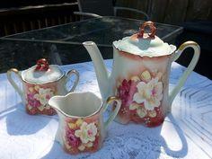 Vintage Nippon Tea Set - Teapot, Creamer & Sugar Rose Floral