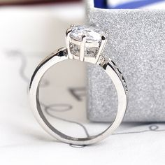 Italina 7.5mm CZ Diamond Jewelry Wedding Rings for women 925 sterling silver Jewelry Engagement ring Anel Aneis Bague anillos