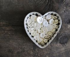 Vintage White Buttons in Large Heart Jello Mold by cattales, $9.00