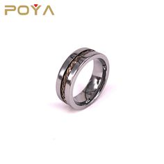 POYA Jewelry 8mm Brass Rope Inlaid Tungsten Carbide Ring High Polished Wedding Band Flat Edges Comfort Fit For Men