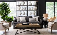 A living room design inspired by a nature & New York. Today's living rooms can be a bit of challenge to design. Ceramic Jars, Outdoor Furniture Sets, Outdoor Decor, New Living Room, The Hamptons, Living Room Designs, Love Seat, Pure Products, Pillows