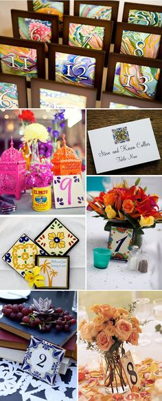 spanish wedding ideas | mexican tile wedding1 Wedding Place Cards Inspired by Spanish Tile