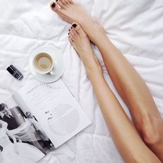 Happy feet on a Tuesday morning #bed #coffee #magazine #HarpersBazaar #Chanel #nailpolish #Orage