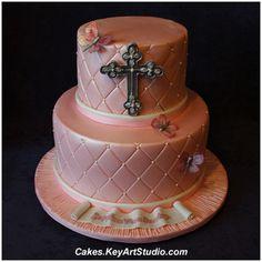 Pink Satin Baptism Cake for a Girl by Cakes.KeyArtStudio.com, via Flickr