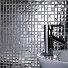 The Slate Silver Square Glass Mosaic is a wonderful glass mosaic for creating a textured modern look on either your bathroom or kitchen walls. The mirrored effect of the mosaic is sure add some really Hollywood glamour to your home. £11.95 per sheet