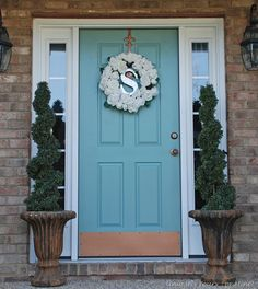 Blue painted front door