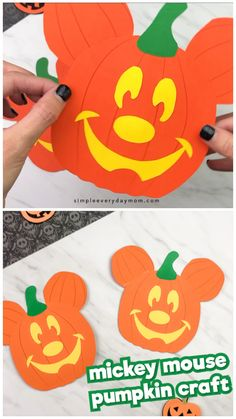 Make this easy Mickey Mouse pumpkin craft with the kids this Halloween season. It's a fun reminder of Disneyland during Halloween! Plus, it comes with a free printable template. #simpleeverydaymom #kidscrafts #craftsforkids #kidsactivities #halloween #halloweencrafts #halloweencraftsforkids #disney #disneykids #disneycrafts