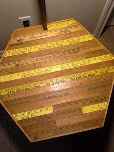 Yardstick wooden ruler upcycle repurpose photo slides table yard sticks