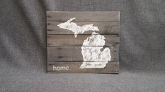 Reclaimed Wood Pallet wall Art State of Michigan Gray Gift