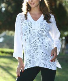 Look at this #zulilyfind! White Crochet-Patchwork V-Neck Tunic #zulilyfinds