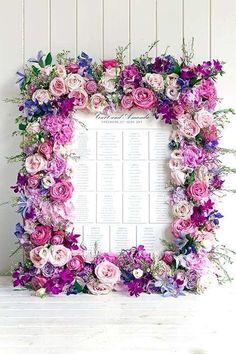Floral frame for escort card display / Cadre floral pour votre plan de table *-* Deco Floral, Floral Design, Vintage Floral, Karten Display, Seating Cards, Table Seating, Table Plans, Wedding Table, Wedding Card