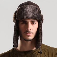 Stylish Button Embellished Thicken PU Trapper Hat For Men   $8.31