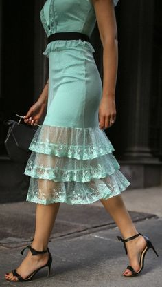 30 Dresses in 30 Days | Day 26: Baby Shower // Pastel teal light blue tiered lace midi dress with cinched waistband, Alexandre Birman black sandals, black oval sunglasses {classic style, fancy outfit, what to wear, fashion blogger}