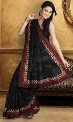 $60.29 Black Silk Super Net Cotton Saree 13518