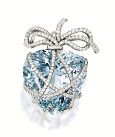 Aquamarine and Diamond 'Wrapped Heart' Brooch, Verdura. March's Birthstone: A is also for Aquamarine | Jewels du Jour