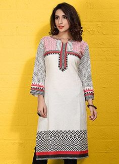 Blended Cotton Block Printed Off White Kurti