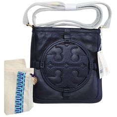 Pre-owned Tory Burch Logo Holly Book Leather Nwt New Navy Blue Cross... ($349) ❤ liked on Polyvore featuring bags, handbags, shoulder bags, navy blue, leather handbags, leather shoulder bag, navy blue leather purse, leather crossbody purse and leather crossbody handbags