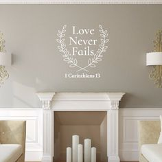 Love Never Fails Bible Verse With Laurels Vinyl Wall Decal 22578 Wall Decal Sticker, Vinyl Decals, Christmas Decals, Christmas Ornament, Merry Christmas, Mural Wall Art, Murals, Oracal Vinyl, Gold Walls