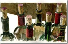 """A sketch by Thomas Arvid that's hanging in the wine room - """"A Few Of My Favorite Things"""""""